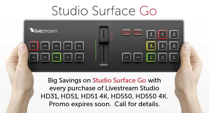Save on Livestream Surface Go with Livestream Studio switcher purchase