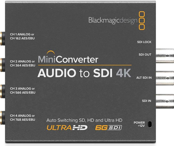 Blackmagic Audio to SDI 4K Mini Converter Blackmagic Audio to SDI 4K, CONVMCAUDS4K, Mini Converter