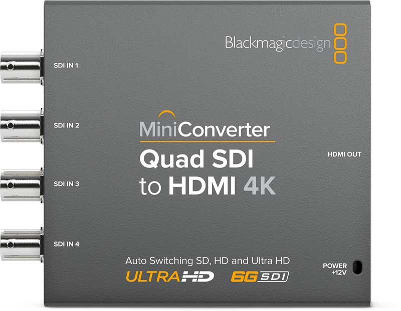 Blackmagic Quad SDI to HDMI 4K 2 Mini Converter Blackmagic Quad SDI to HDMI 4K 2, CONVMBSQUH4K2, Mini Converter