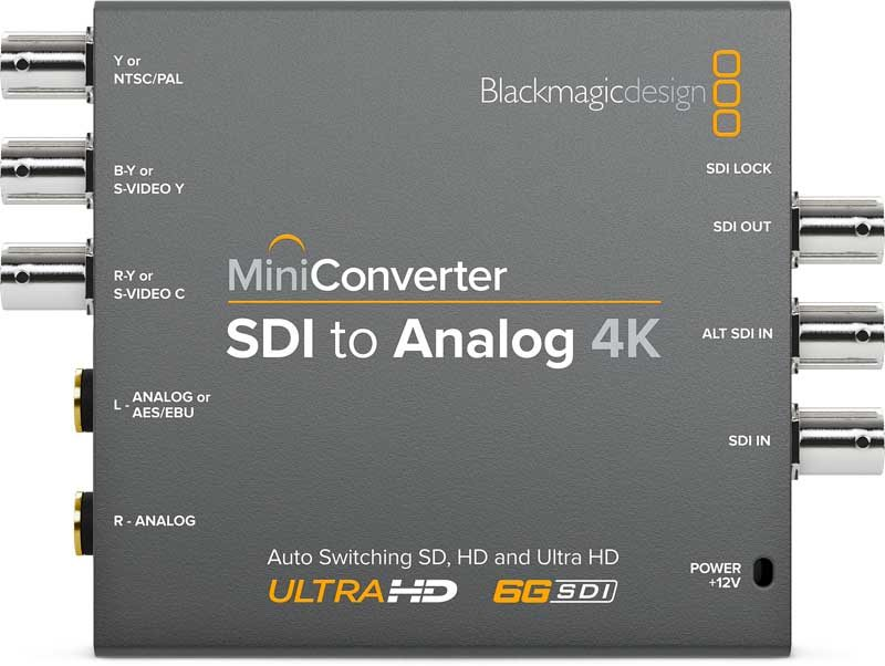 Blackmagic SDI to Analog 4K Mini Converter Blackmagic SDI to Analog 4K, CONVMASA4K, Mini Converter